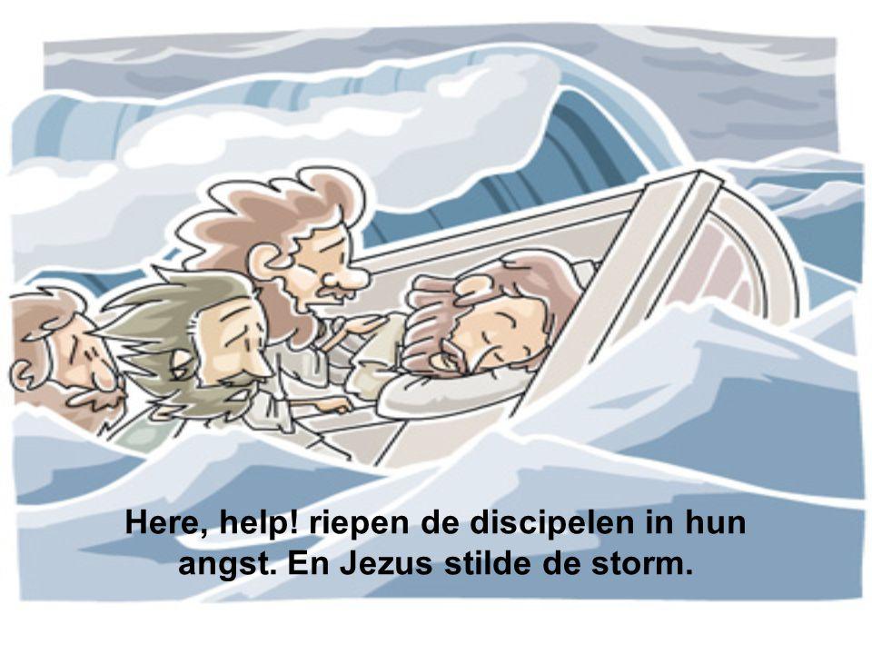 Here, help! riepen de discipelen in hun angst. En Jezus stilde de storm.