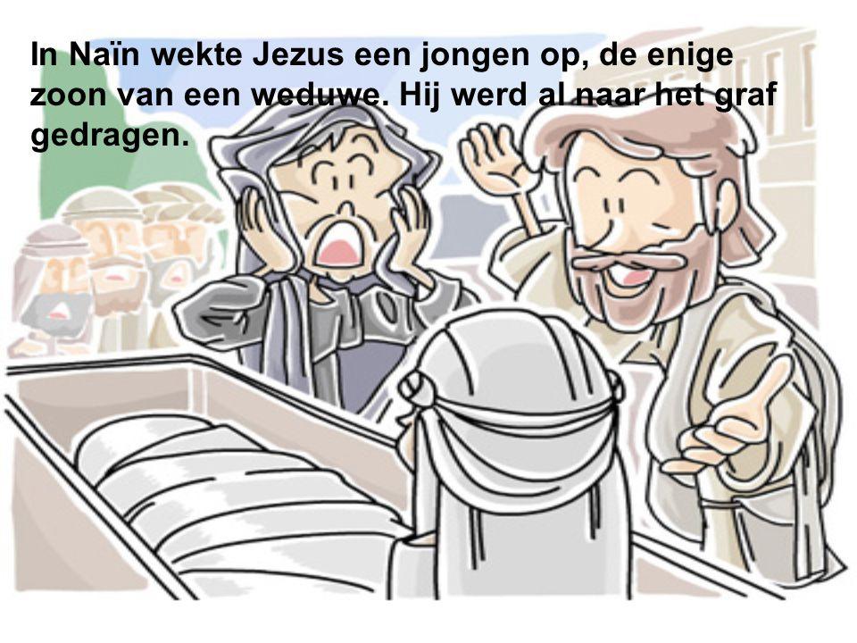 In Naïn wekte Jezus een jongen op, de enige zoon van een weduwe. Hij werd al naar het graf gedragen.