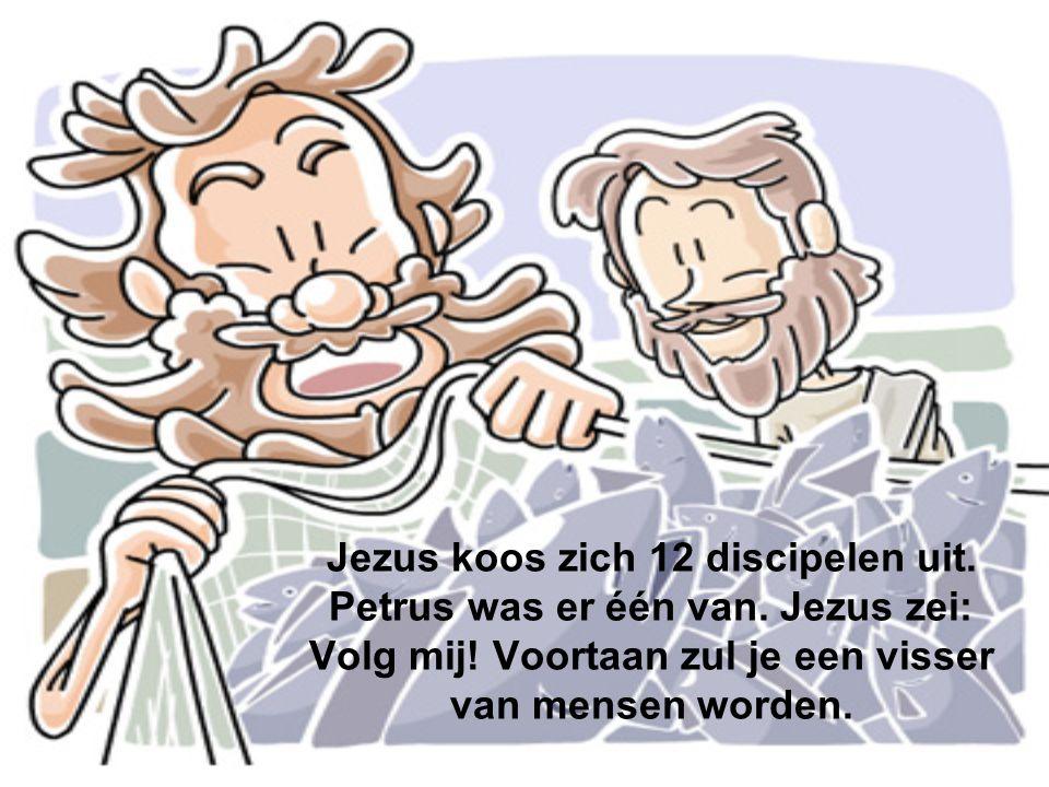 Jezus koos zich 12 discipelen uit. Petrus was er één van. Jezus zei: Volg mij! Voortaan zul je een visser van mensen worden.