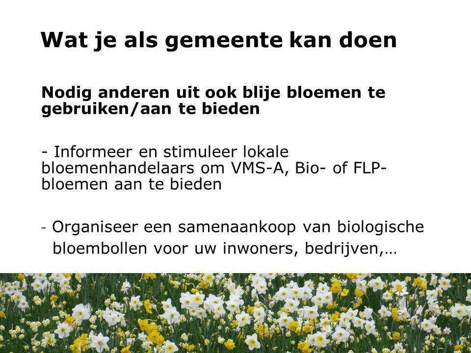 Nodig anderen uit ook blije bloemen te gebruiken/aan te bieden - Informeer en stimuleer lokale bloemenhandelaars om VMS-A, Bio- of FLP- bloemen aan te bieden - Organiseer een samenaankoop van biologische bloembollen voor uw inwoners, bedrijven,… Wat kan jij doen.