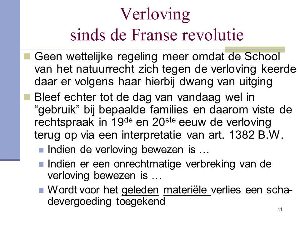 11 Verloving sinds de Franse revolutie Geen wettelijke regeling meer omdat de School van het natuurrecht zich tegen de verloving keerde daar er volgen