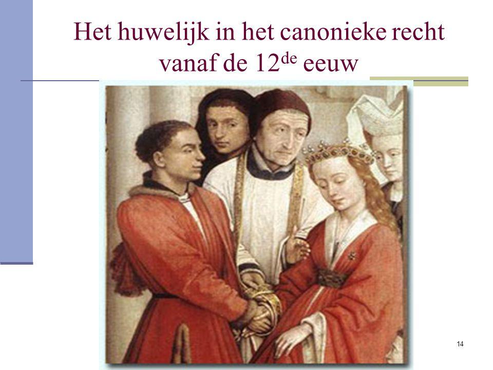 14 Het huwelijk in het canonieke recht vanaf de 12 de eeuw
