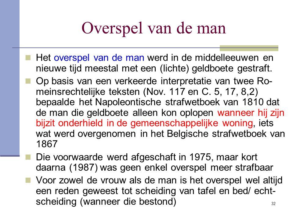 32 Overspel van de man Het overspel van de man werd in de middelleeuwen en nieuwe tijd meestal met een (lichte) geldboete gestraft. Op basis van een v
