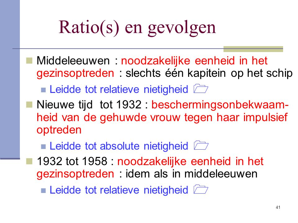 41 Ratio(s) en gevolgen Middeleeuwen : noodzakelijke eenheid in het gezinsoptreden : slechts één kapitein op het schip Leidde tot relatieve nietigheid