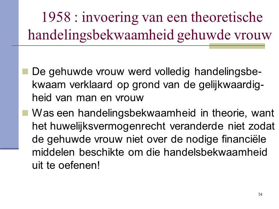 54 1958 : invoering van een theoretische handelingsbekwaamheid gehuwde vrouw De gehuwde vrouw werd volledig handelingsbe- kwaam verklaard op grond van
