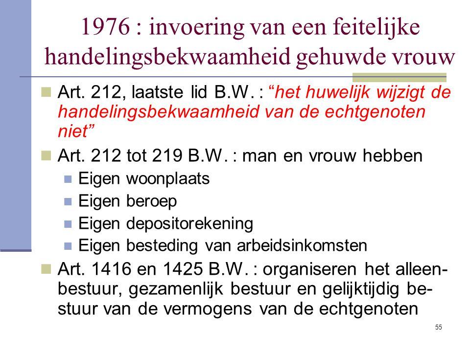 """55 1976 : invoering van een feitelijke handelingsbekwaamheid gehuwde vrouw Art. 212, laatste lid B.W. : """"het huwelijk wijzigt de handelingsbekwaamheid"""
