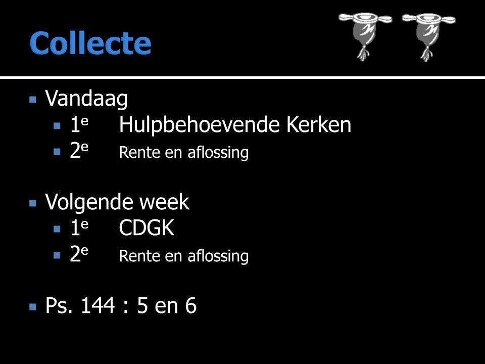  Vandaag  1 e Hulpbehoevende Kerken  2 e Rente en aflossing  Volgende week  1 e CDGK  2 e Rente en aflossing  Ps.