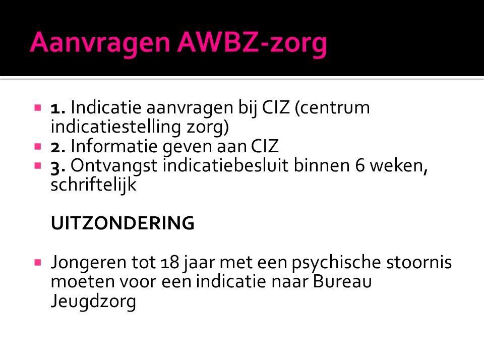  1. Indicatie aanvragen bij CIZ (centrum indicatiestelling zorg)  2. Informatie geven aan CIZ  3. Ontvangst indicatiebesluit binnen 6 weken, schrif