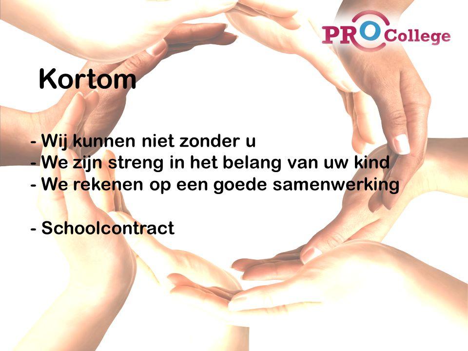 Kortom - Wij kunnen niet zonder u - We zijn streng in het belang van uw kind - We rekenen op een goede samenwerking - Schoolcontract