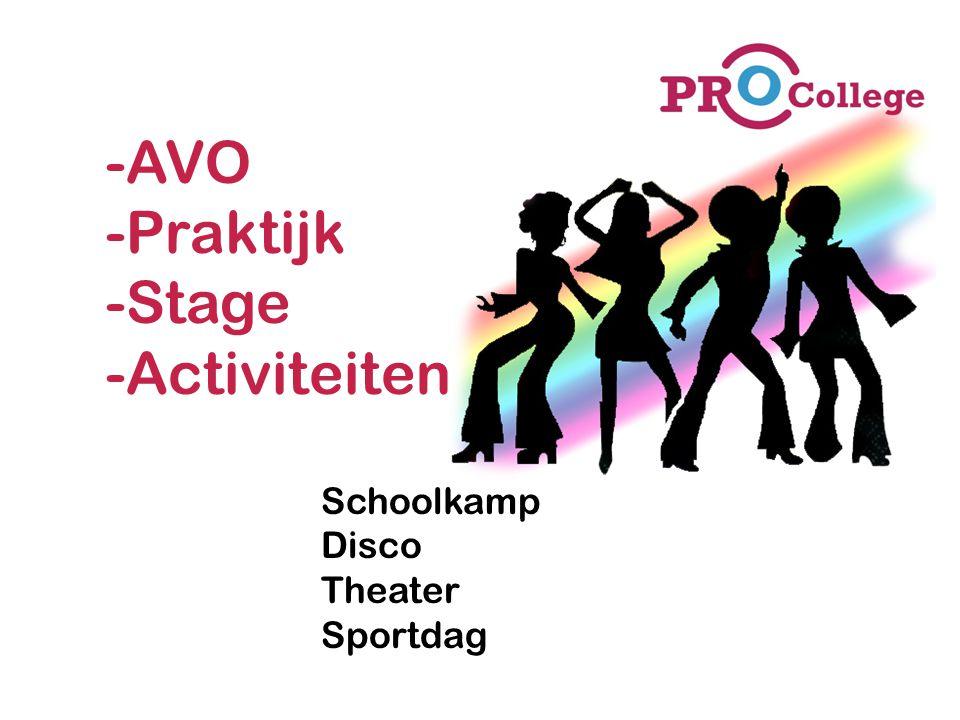-AVO -Praktijk -Stage -Activiteiten Schoolkamp Disco Theater Sportdag