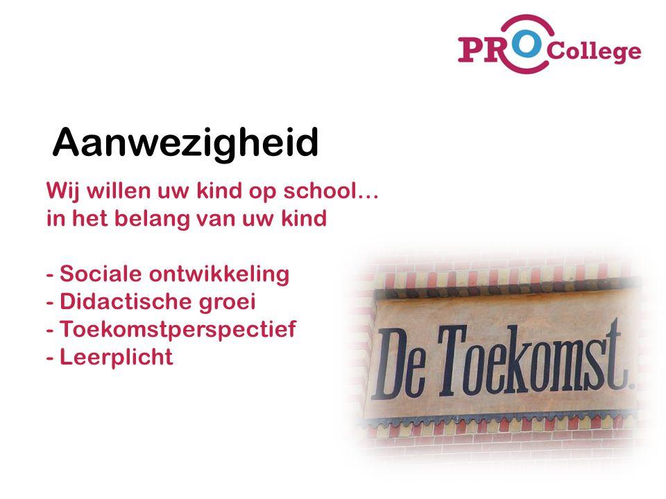 Aanwezigheid Wij willen uw kind op school… in het belang van uw kind - Sociale ontwikkeling - Didactische groei - Toekomstperspectief - Leerplicht