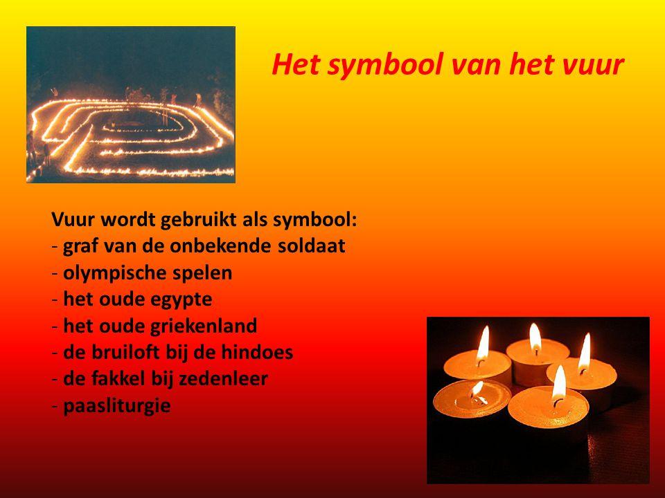 Vuur wordt ook gebruikt als symbool: - branden van wierook - lijkverbranding bij de hindoes - rituelen i.v.m.