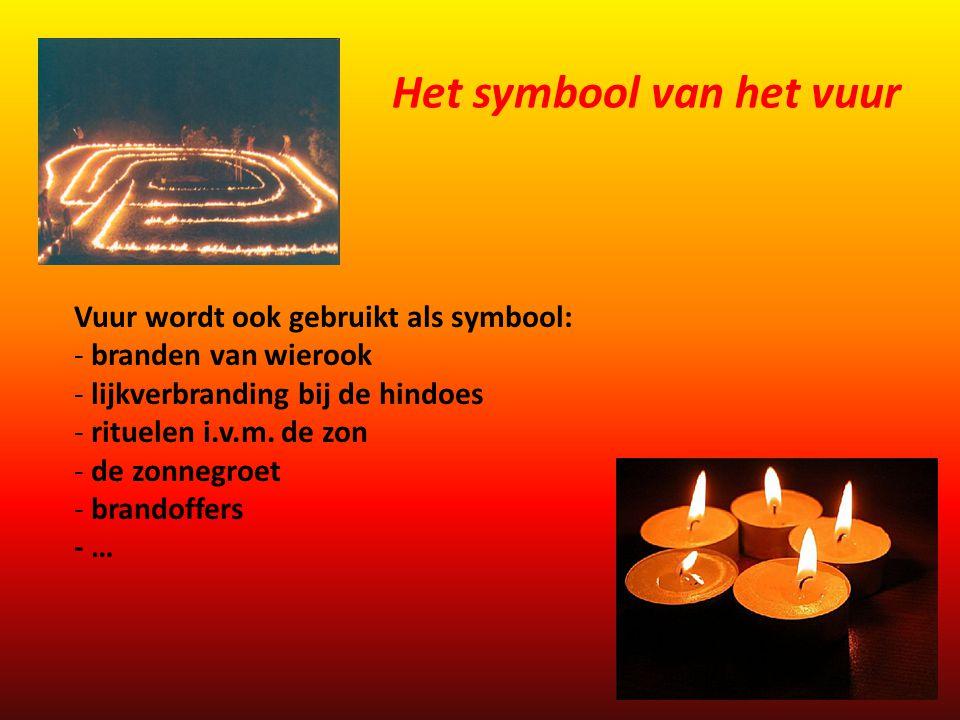Vuur wordt ook gebruikt als symbool: - branden van wierook - lijkverbranding bij de hindoes - rituelen i.v.m. de zon - de zonnegroet - brandoffers - …