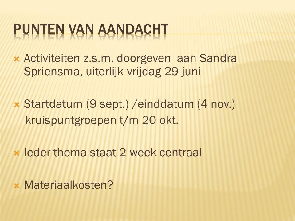  Activiteiten z.s.m. doorgeven aan Sandra Spriensma, uiterlijk vrijdag 29 juni  Startdatum (9 sept.) /einddatum (4 nov.) kruispuntgroepen t/m 20 okt