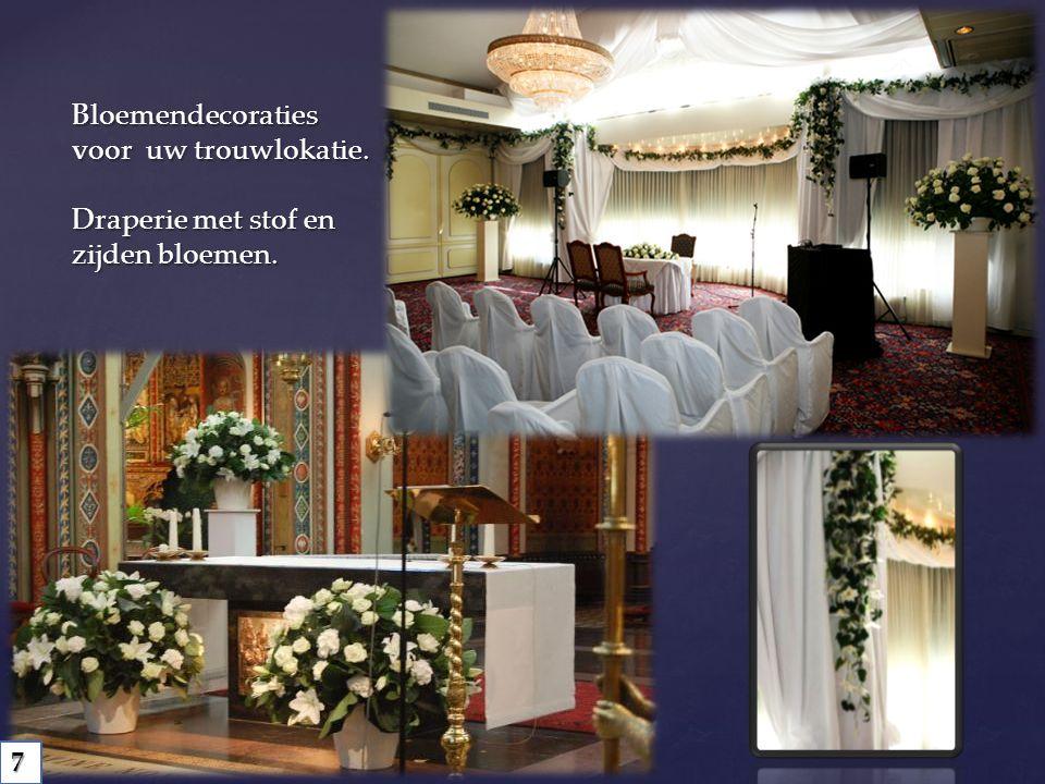 Bloemendecoraties voor uw trouwlokatie. Draperie met stof en zijden bloemen. 7