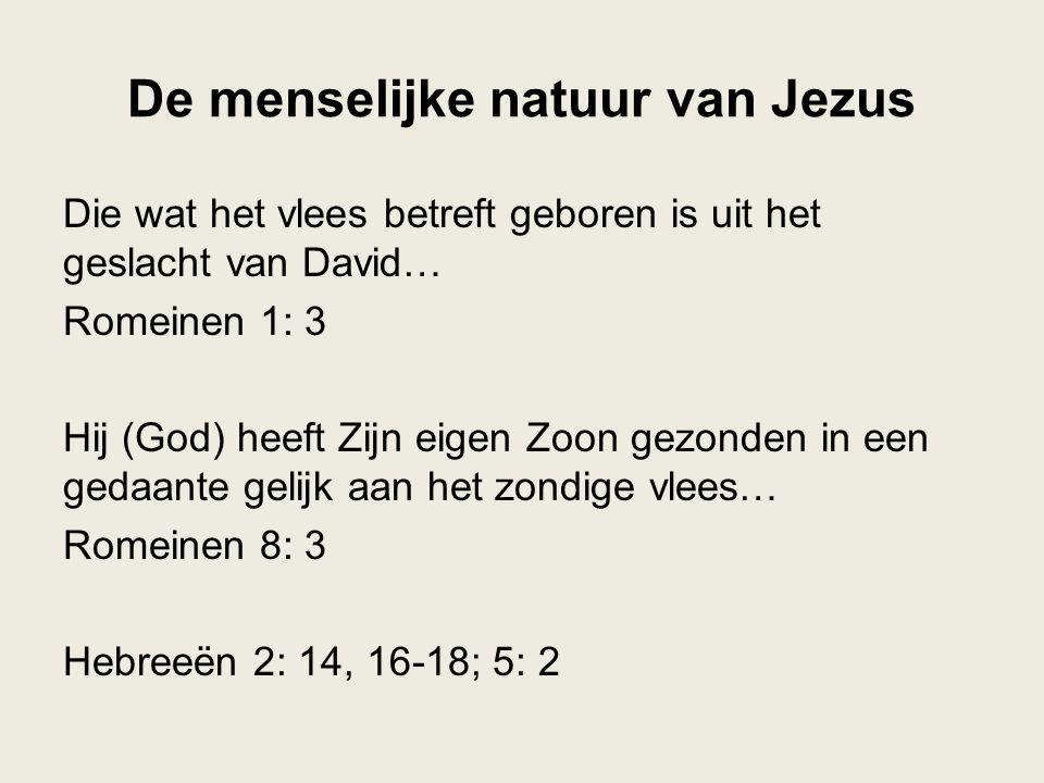 De menselijke natuur van Jezus Die wat het vlees betreft geboren is uit het geslacht van David… Romeinen 1: 3 Hij (God) heeft Zijn eigen Zoon gezonden