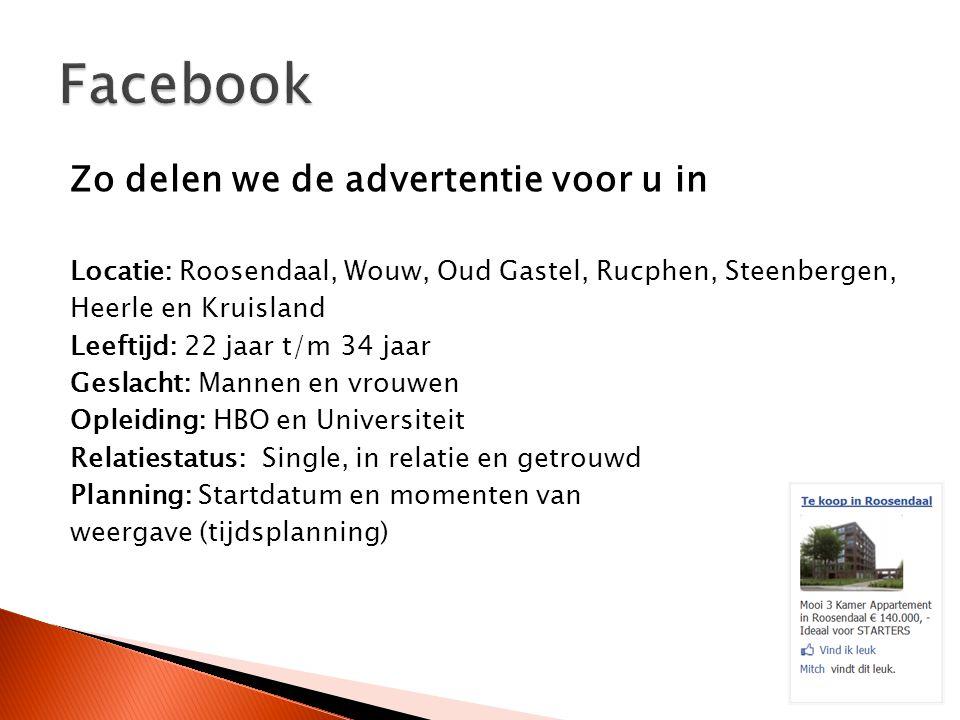 Zo delen we de advertentie voor u in Locatie: Roosendaal, Wouw, Oud Gastel, Rucphen, Steenbergen, Heerle en Kruisland Leeftijd: 22 jaar t/m 34 jaar Ge