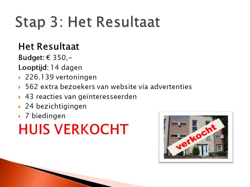 Het Resultaat Budget: € 350,- Looptijd: 14 dagen  226.139 vertoningen  562 extra bezoekers van website via advertenties  43 reacties van geïnteress