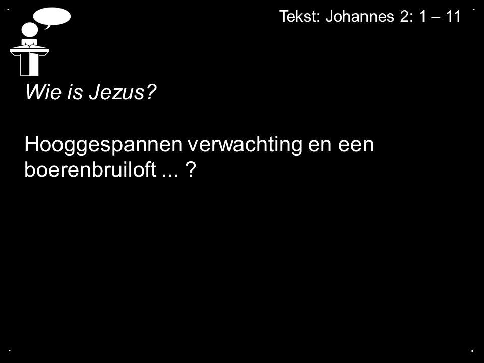 .... Tekst: Johannes 2: 1 – 11 Wie is Jezus? Hooggespannen verwachting en een boerenbruiloft... ?