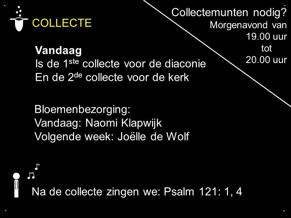 .... COLLECTE Vandaag Is de 1 ste collecte voor de diaconie En de 2 de collecte voor de kerk Na de collecte zingen we: Psalm 121: 1, 4 Bloemenbezorgin