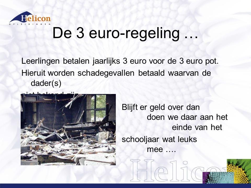 De 3 euro-regeling … Leerlingen betalen jaarlijks 3 euro voor de 3 euro pot. Hieruit worden schadegevallen betaald waarvan de dader(s) niet bekend zij