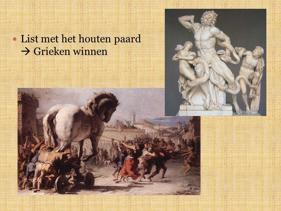 List met het houten paard  Grieken winnen