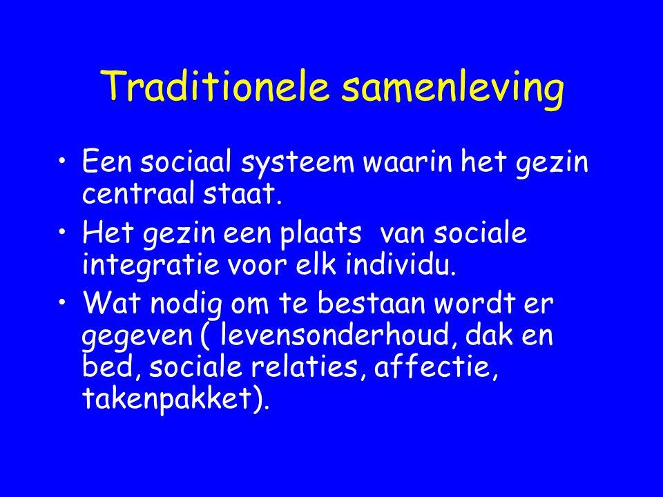Traditionele samenleving Een sociaal systeem waarin het gezin centraal staat. Het gezin een plaats van sociale integratie voor elk individu. Wat nodig