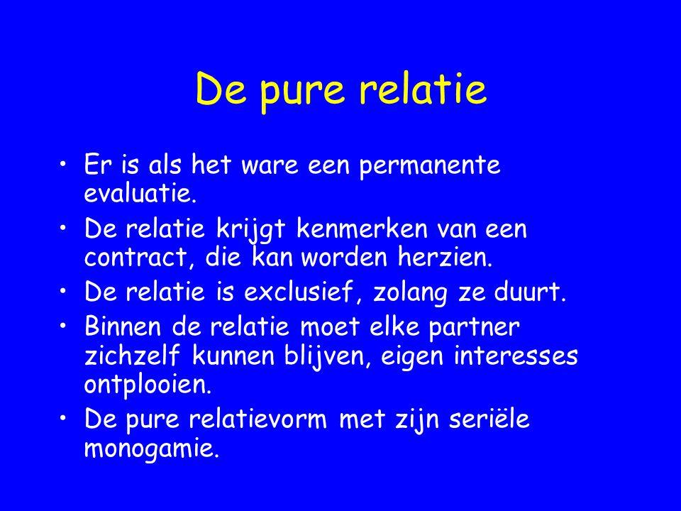 De pure relatie Er is als het ware een permanente evaluatie. De relatie krijgt kenmerken van een contract, die kan worden herzien. De relatie is exclu