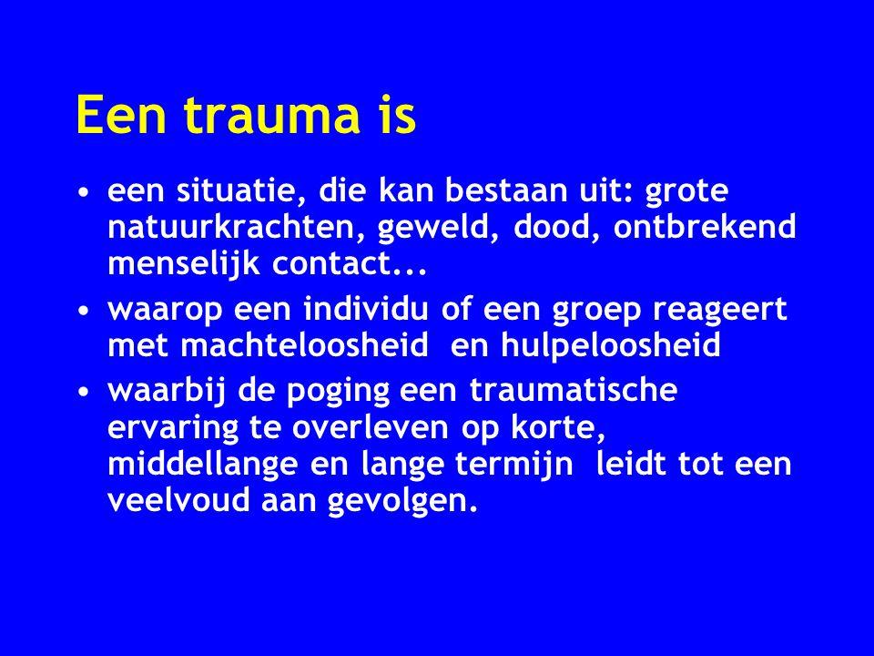Een trauma is een situatie, die kan bestaan uit: grote natuurkrachten, geweld, dood, ontbrekend menselijk contact... waarop een individu of een groep