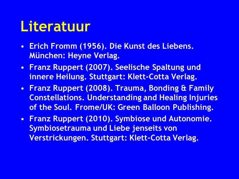 Literatuur Erich Fromm (1956). Die Kunst des Liebens. München: Heyne Verlag. Franz Ruppert (2007). Seelische Spaltung und innere Heilung. Stuttgart: K