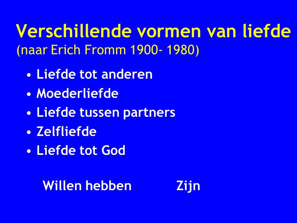 Verschillende vormen van liefde (naar Erich Fromm 1900- 1980) Liefde tot anderen Moederliefde Liefde tussen partners Zelfliefde Liefde tot God Willen