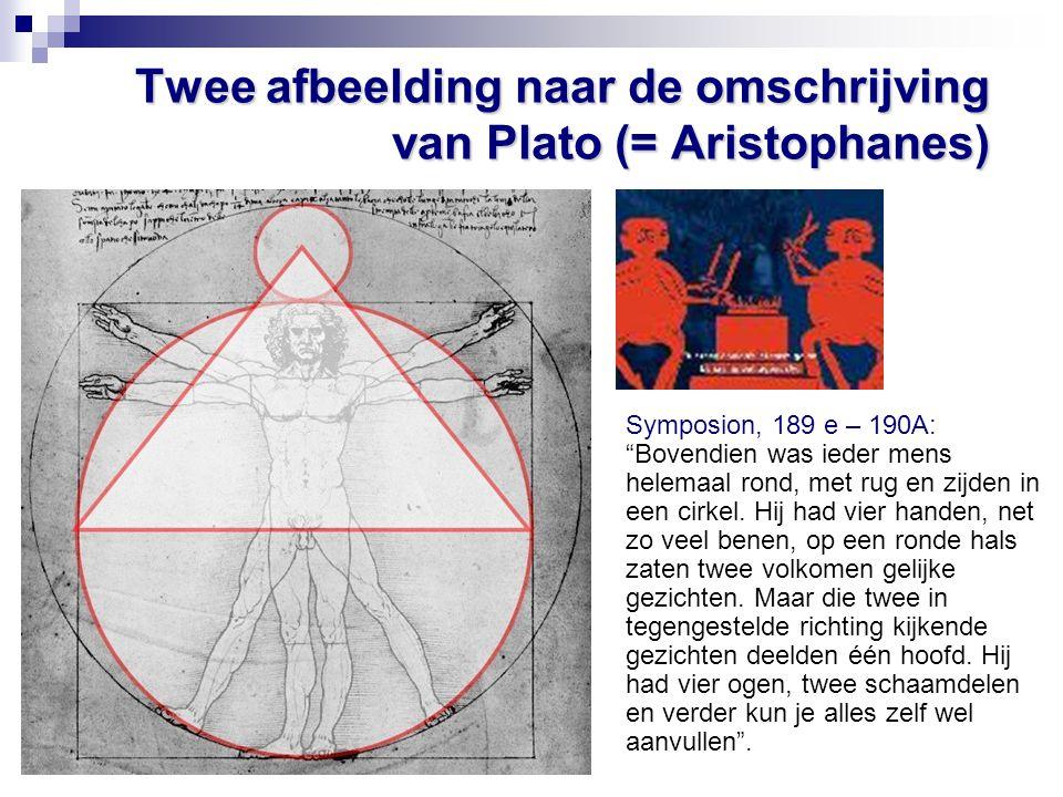 """Twee afbeelding naar de omschrijving van Plato (= Aristophanes) Symposion, 189 e – 190A: """"Bovendien was ieder mens helemaal rond, met rug en zijden in"""