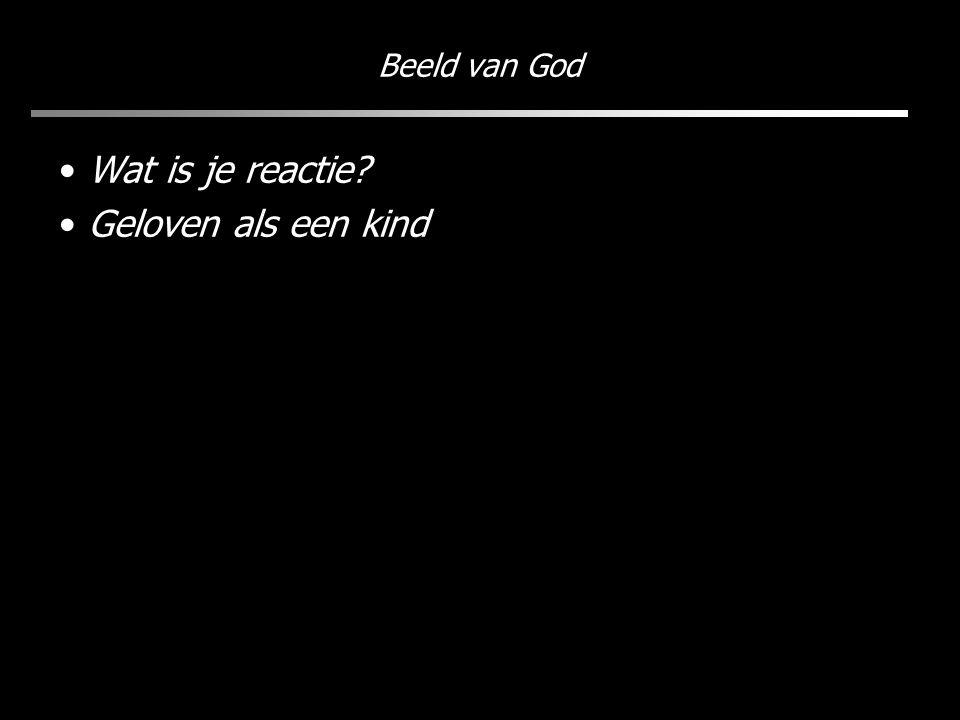 Beeld van God Wat is je reactie? Geloven als een kind