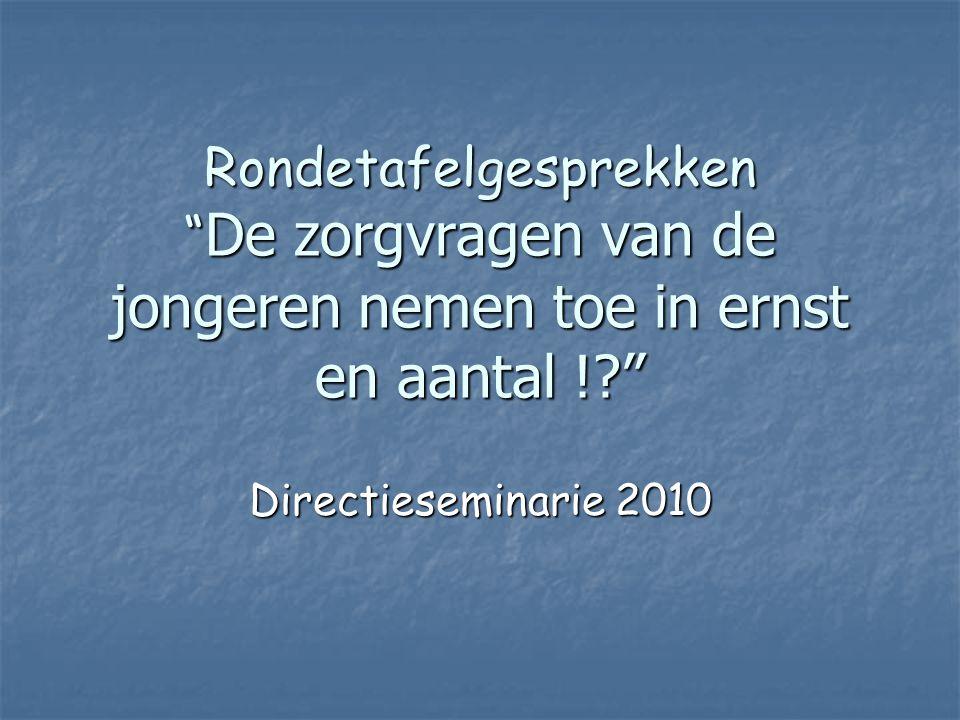 """Rondetafelgesprekken """" De zorgvragen van de jongeren nemen toe in ernst en aantal !?"""" Directieseminarie 2010"""