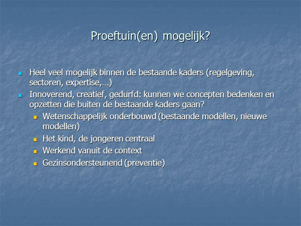 Proeftuin(en) mogelijk? Heel veel mogelijk binnen de bestaande kaders (regelgeving, sectoren, expertise,…) Heel veel mogelijk binnen de bestaande kade