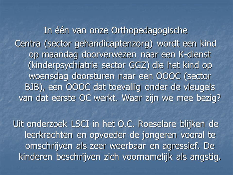 In één van onze Orthopedagogische Centra (sector gehandicaptenzorg) wordt een kind op maandag doorverwezen naar een K-dienst (kinderpsychiatrie sector