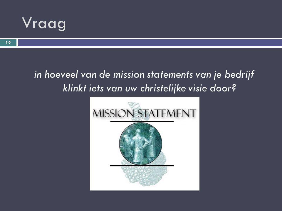 Vraag in hoeveel van de mission statements van je bedrijf klinkt iets van uw christelijke visie door.
