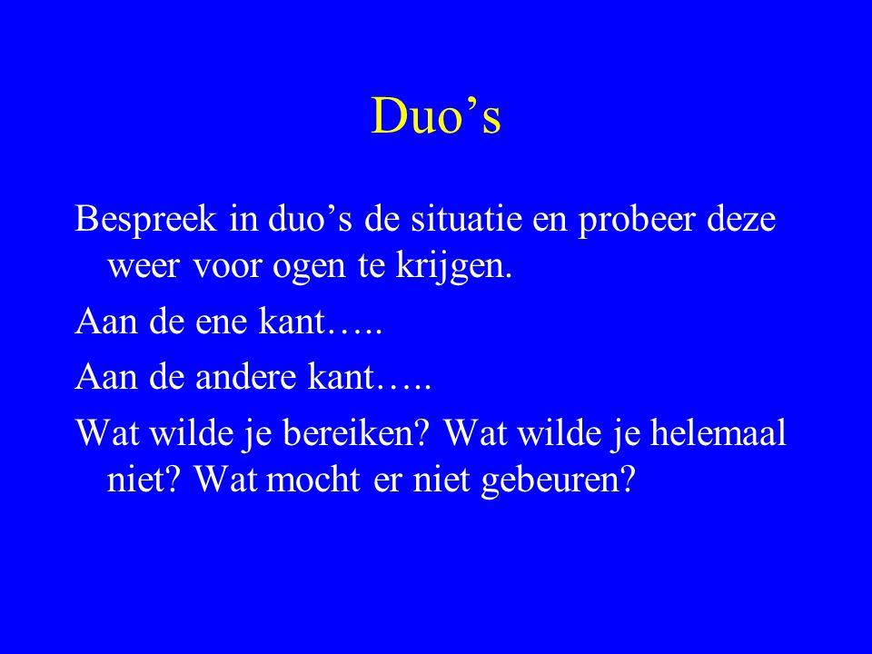 Duo's Bespreek in duo's de situatie en probeer deze weer voor ogen te krijgen. Aan de ene kant….. Aan de andere kant….. Wat wilde je bereiken? Wat wil