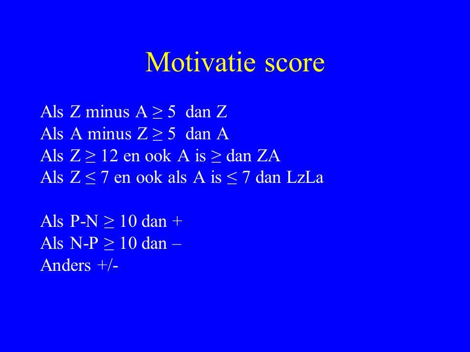 Motivatie score Als Z minus A ≥ 5 dan Z Als A minus Z ≥ 5 dan A Als Z ≥ 12 en ook A is ≥ dan ZA Als Z ≤ 7 en ook als A is ≤ 7 dan LzLa Als P-N ≥ 10 da