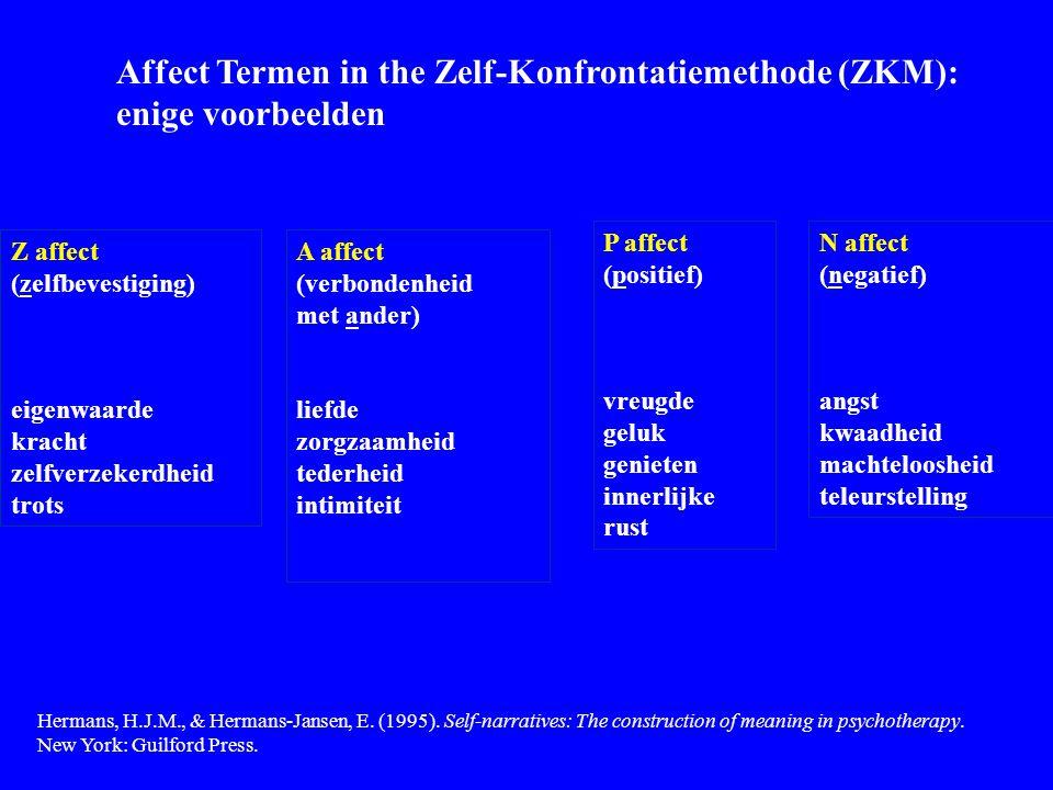 Affect Termen in the Zelf-Konfrontatiemethode (ZKM): enige voorbeelden A affect (verbondenheid met ander) liefde zorgzaamheid tederheid intimiteit P a