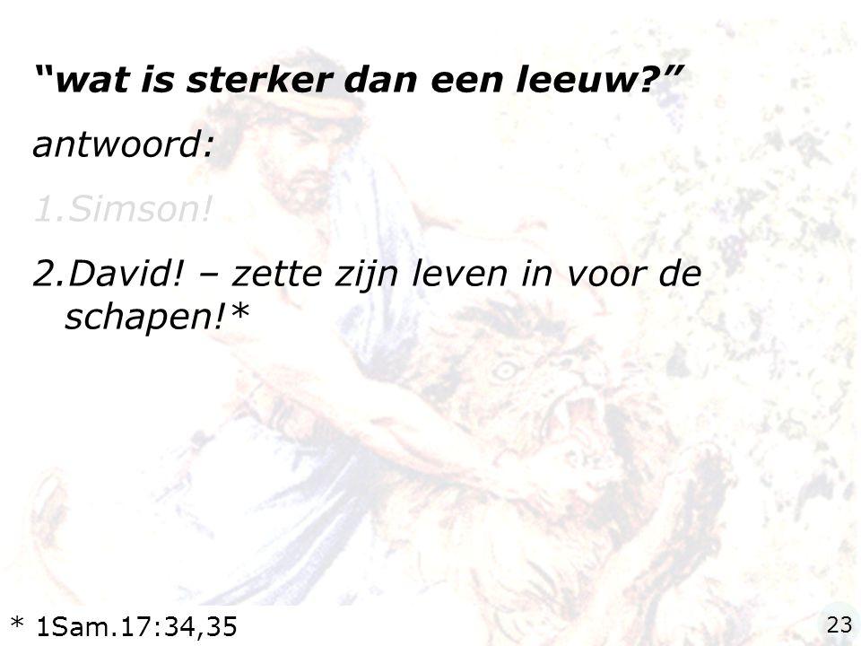 """""""wat is sterker dan een leeuw?"""" antwoord: 1.Simson! 2.David! – zette zijn leven in voor de schapen!* * 1Sam.17:34,35 23"""