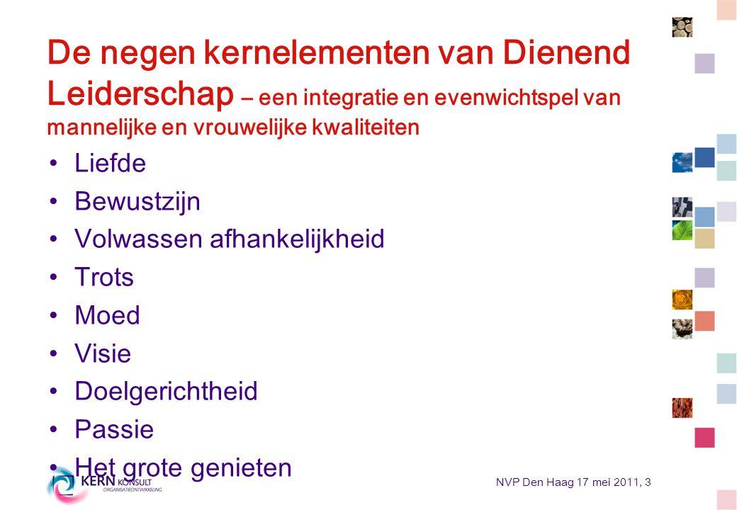 NVP Den Haag 17 mei 2011, 3 De negen kernelementen van Dienend Leiderschap – een integratie en evenwichtspel van mannelijke en vrouwelijke kwaliteiten