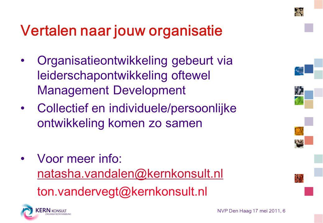 NVP Den Haag 17 mei 2011, 6 Vertalen naar jouw organisatie Organisatieontwikkeling gebeurt via leiderschapontwikkeling oftewel Management Development
