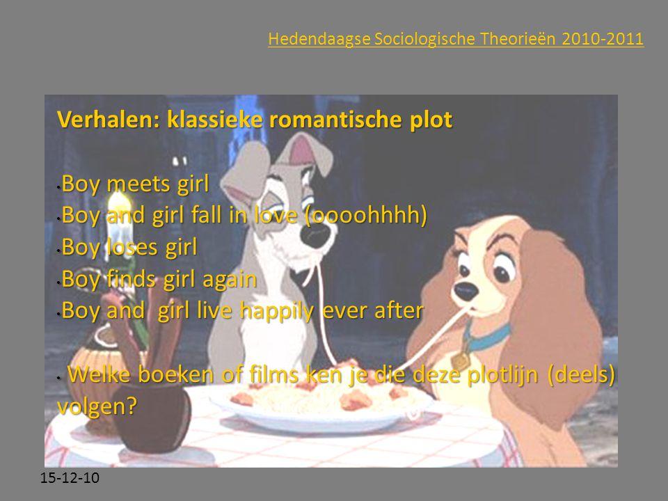 Click to edit Master subtitle style 15-12-10 Hedendaagse Sociologische Theorieën 2010-2011 Verhalen: klassieke romantische plot Boy meets girl Boy mee