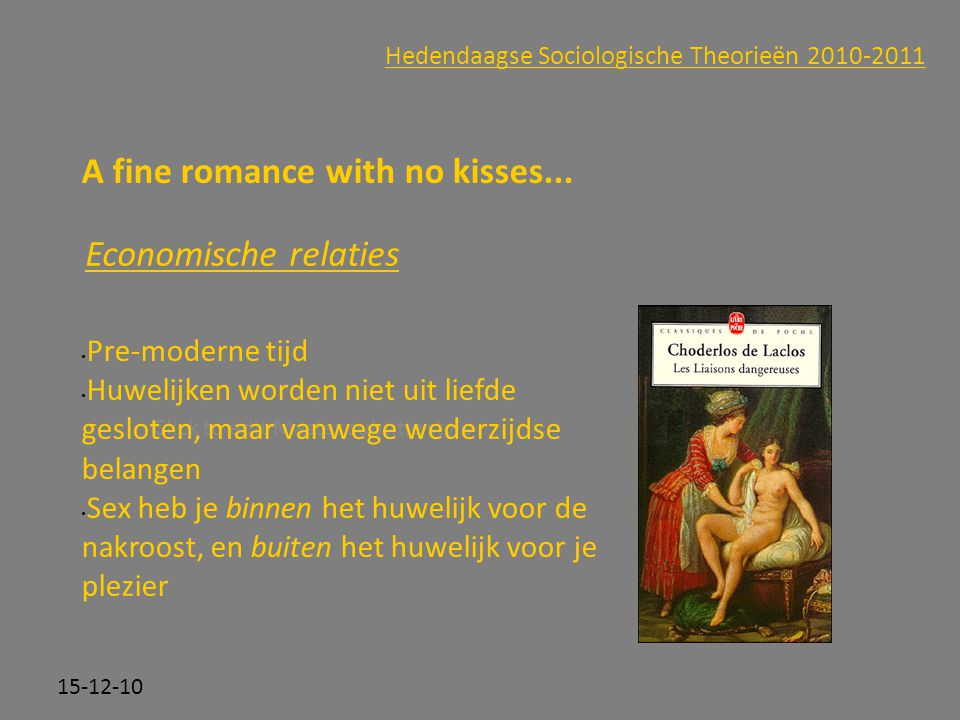 Click to edit Master subtitle style 15-12-10 Hedendaagse Sociologische Theorieën 2010-2011 A fine romance with no kisses...