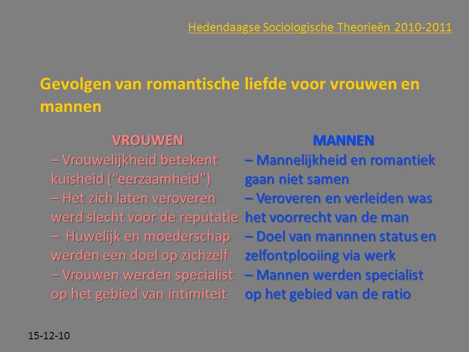 Click to edit Master subtitle style 15-12-10 Hedendaagse Sociologische Theorieën 2010-2011 Gevolgen van romantische liefde voor vrouwen en mannen VROU