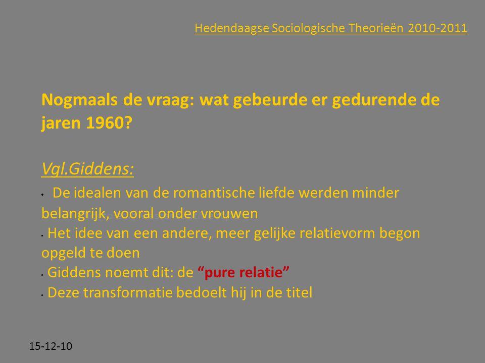 Click to edit Master subtitle style 15-12-10 Hedendaagse Sociologische Theorieën 2010-2011 Nogmaals de vraag: wat gebeurde er gedurende de jaren 1960?