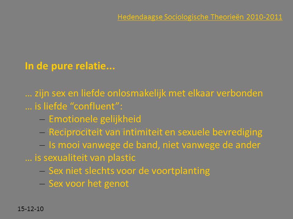 Click to edit Master subtitle style 15-12-10 Hedendaagse Sociologische Theorieën 2010-2011 In de pure relatie... … zijn sex en liefde onlosmakelijk me