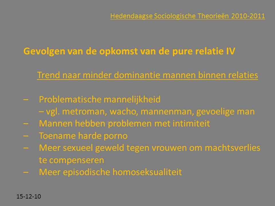 Click to edit Master subtitle style 15-12-10 Hedendaagse Sociologische Theorieën 2010-2011 Gevolgen van de opkomst van de pure relatie IV Trend naar m