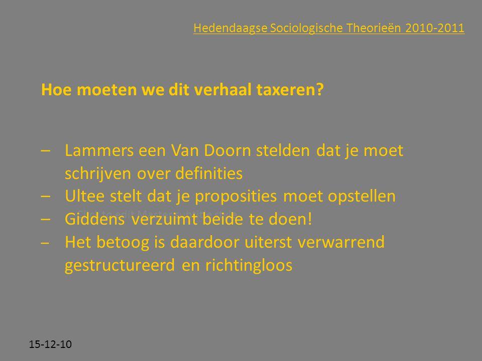 Click to edit Master subtitle style 15-12-10 Hedendaagse Sociologische Theorieën 2010-2011 Hoe moeten we dit verhaal taxeren? –Lammers een Van Doorn s